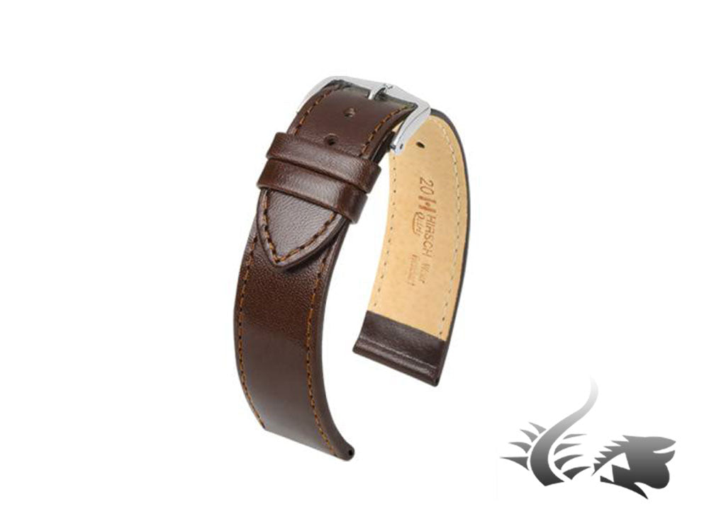Hirsch Osiris Leather Strap, Brown, 20 mm, L (200 mm), 03475010-2-20
