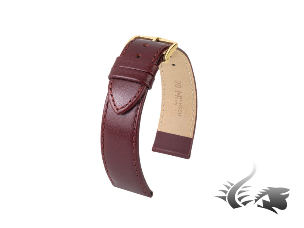 Hirsch Osiris Leather Strap, Burgundy, 20 mm, PVD gold, 03475060-1-20