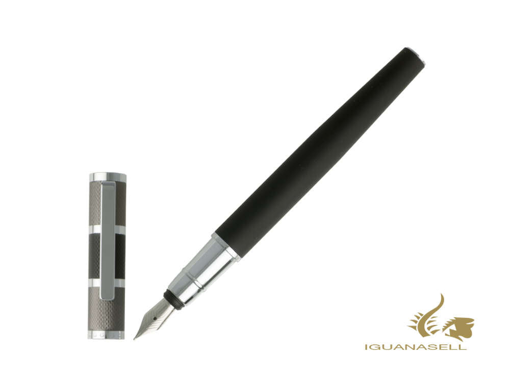 Hugo Boss Formation Fountain Pen, Brass, Chrome Trim, Dark Grey, HSY8852