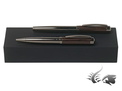 Hugo Boss Grove Rollerball pen & Ballpoint pen Set, Wood, Gun metal, HPBR786