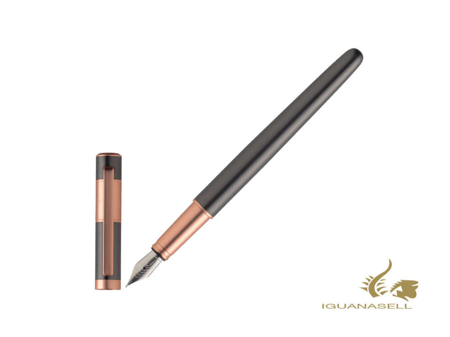 Hugo Boss Ribbon Fountain Pen, Brass, Rose Gold PVD, Grey, HSR0982D Hugo Boss Fountain Pen