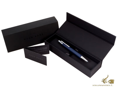 Hugo Boss Saffiano Blue Ballpoint pen, Chrome trim, HSP6954N