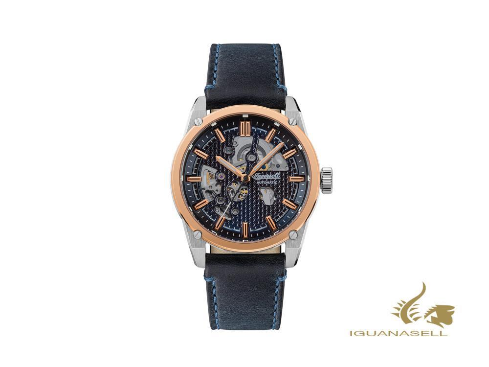 Ingersoll Carroll Automatic Watch, Rose Gold PVD, 45 mm, Blue, I11602