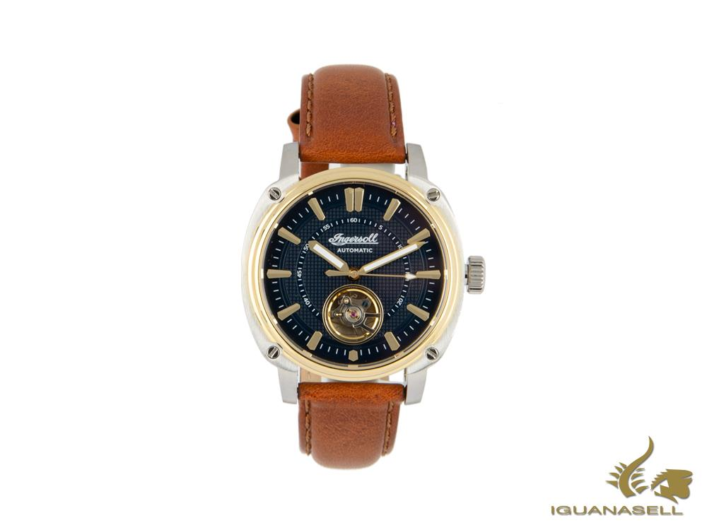 Ingersoll Director Automatic Watch, 46 mm, Gold, Blue, Leather strap, I08103