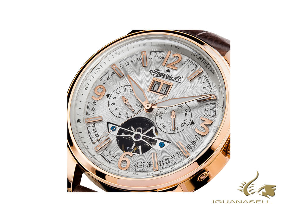 Ingersoll Regent Automatic Watch, 47mm,, PVD Rose Gold, Tachymeter, Date, I00303
