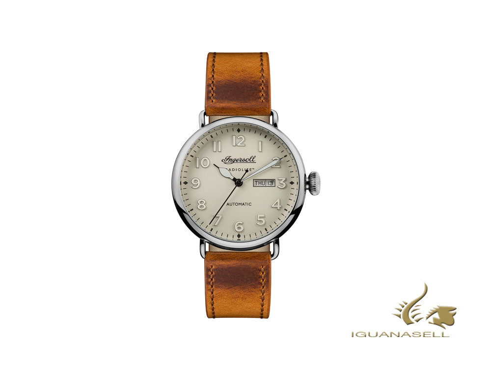Ingersoll Trenton Automatic Watch, Automatic, Beige, Leather, Date, I03404