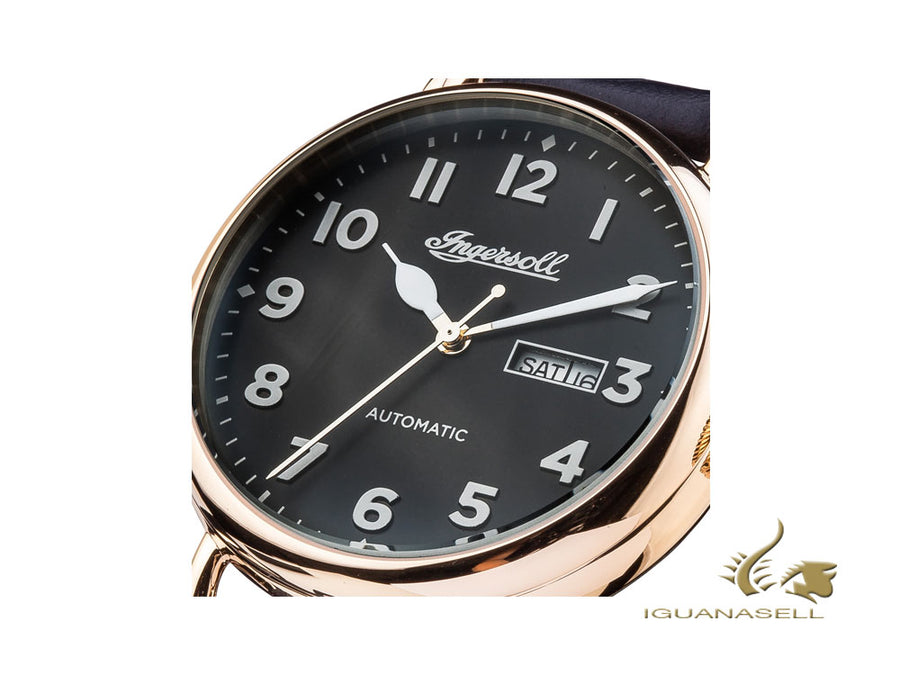 Ingersoll Trenton Automatic Watch, Automatic, IP Gold, Black, Leather, I03401