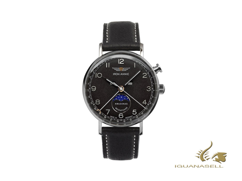Iron Annie Amazonas Impression Moonphase Quartz Watch, Black, 41 mm, 5976-2
