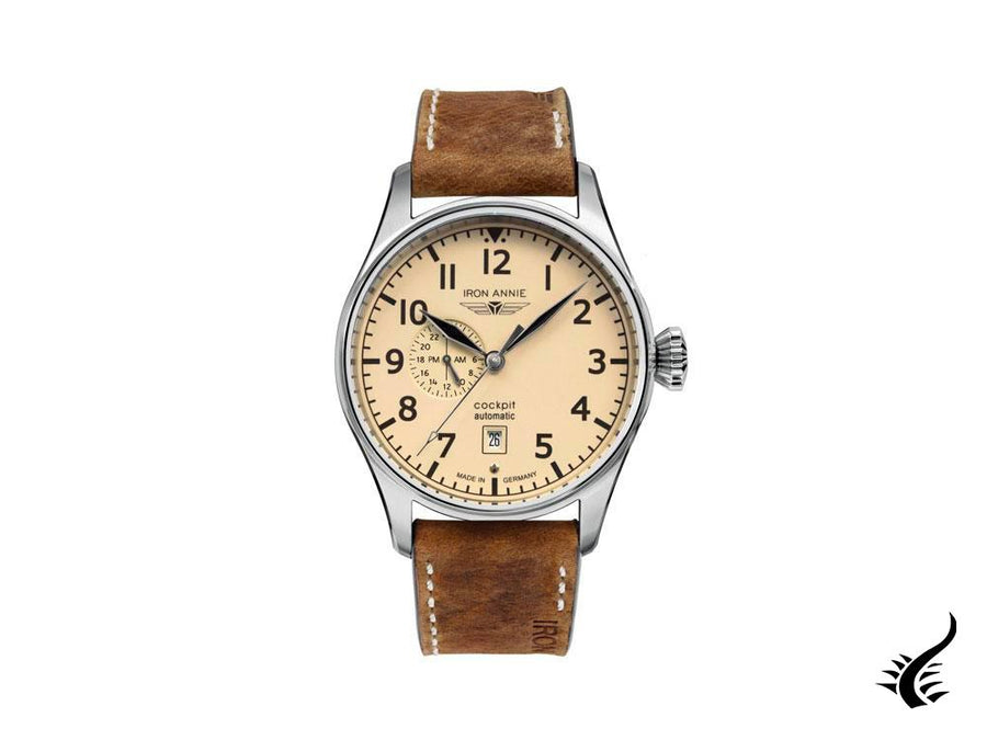 Iron Annie Cockpit Automatic Watch, Beige, 42 mm, Leather strap, Day, 5168-5 Iron Annie Automatic Watch