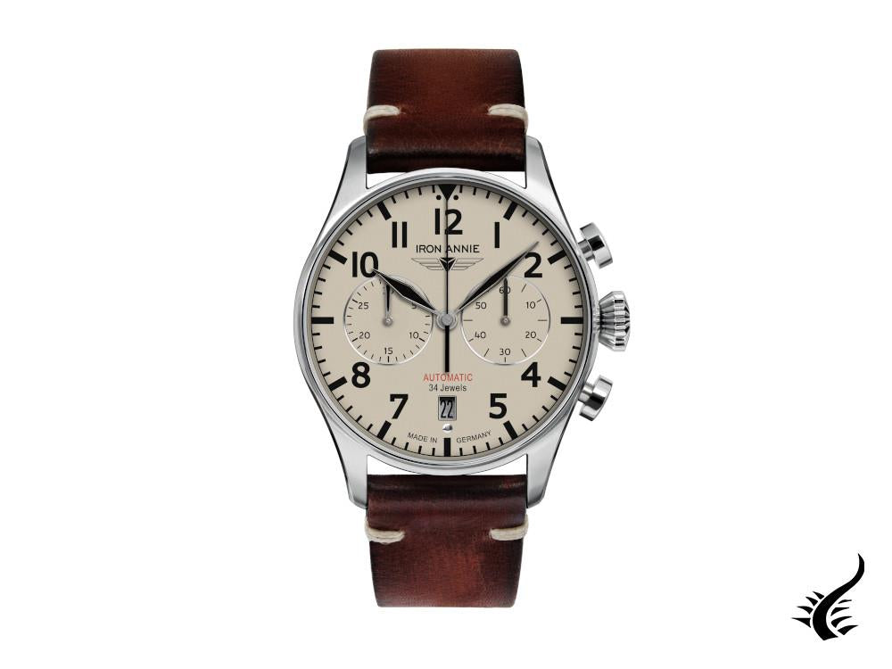 Iron Annie Flight Control Automatic Watch, Beige, 42 mm, Leather strap, 5122-5