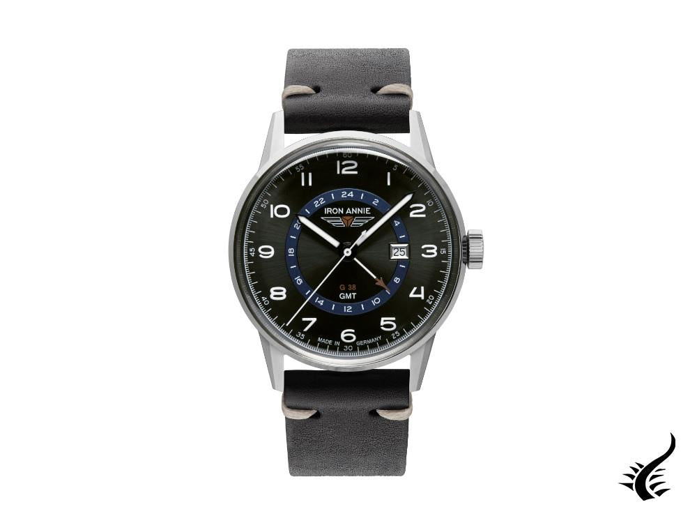 Iron Annie G38 GMT Quartz Watch, Black, 42 mm, GMT, Day, 5342-3