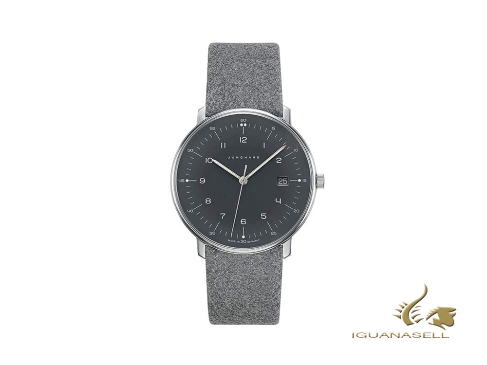 Junghans Max Bill Quartz Watch, 38mm, Grey, Day, Leather strap, 041/4818.00