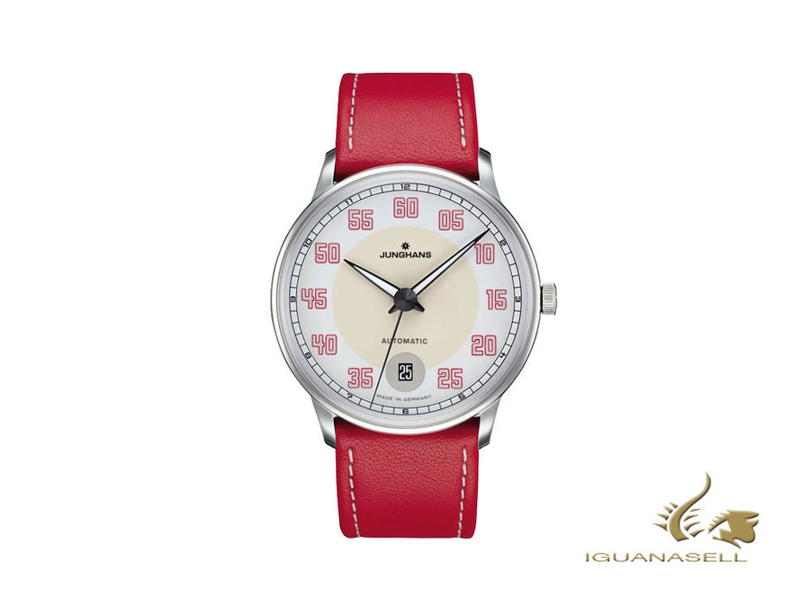 Junghans Meister Driver Automatic Watch, J800.1, 38,4mm, White/Red, Day Junghans Automatic Watch