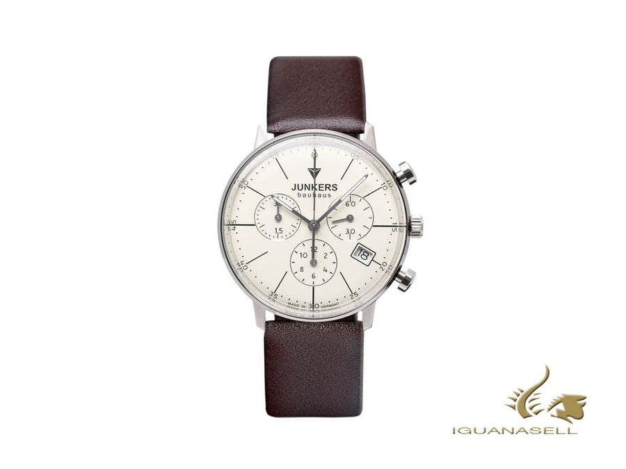 Junkers Bauhaus Lady Quartz Watch, Beige, 35 mm, Chronograph, Leather, 6089-5 Junkers Quartz Watch