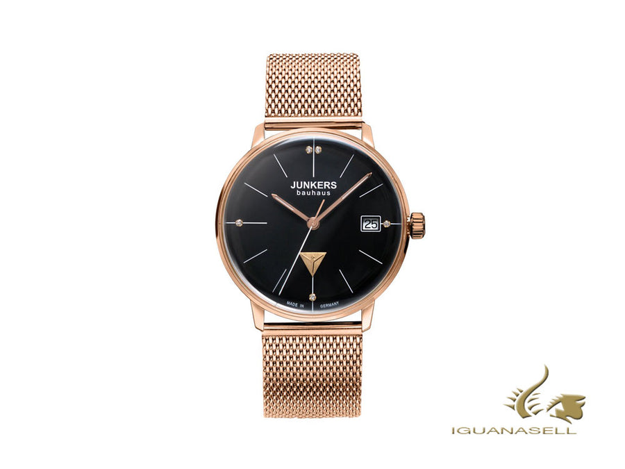 Junkers Bauhaus Lady Quartz Watch, PVD Rose Gold, Black, 35 mm, 6075M-2 Junkers Quartz Watch