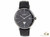 Junkers Bauhaus Quartz Watch, Stainless Steel, Black, 40 mm, Leather strap, Day