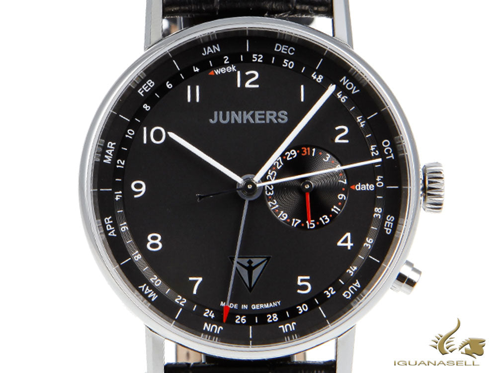 Junkers Eisvogel F13 Quartz Watch, Black, 40 mm, Day and month, 6734-2