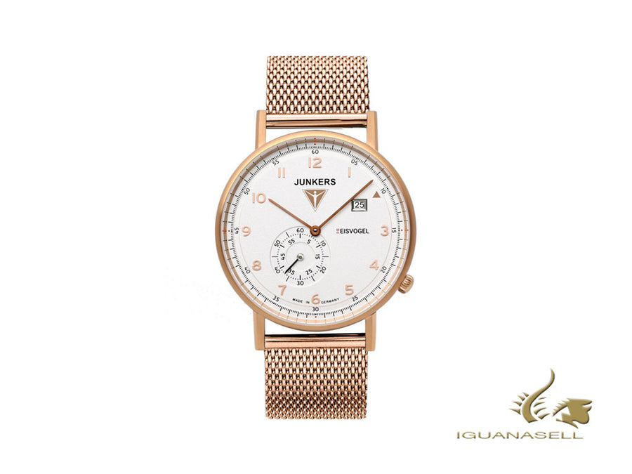 Junkers Eisvogel F13 Quartz Watch, PVD Rose Gold, White, 40 mm, Day, Mesh strap Junkers Quartz Watch