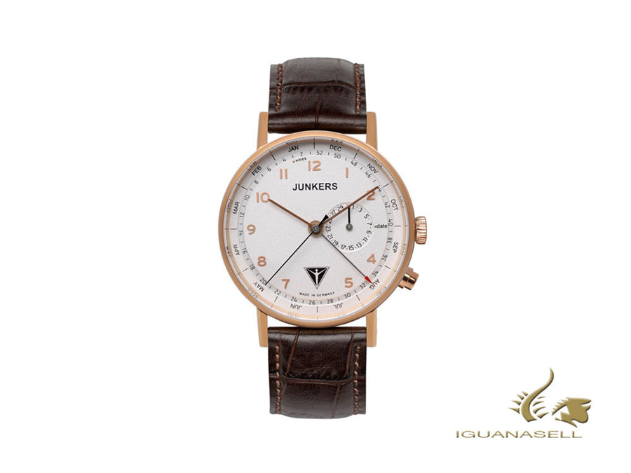 Junkers Eisvogel F13 Quartz Watch, PVD Rose Gold, White, 40 mm, Day and month