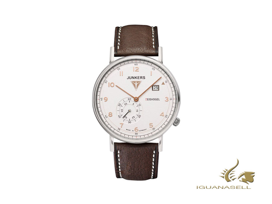 Junkers Eisvogel F13 Quartz Watch, White, 40 mm, Day, Leather strap, 6730-4