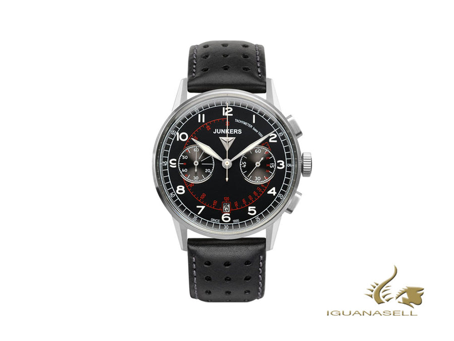 Junkers G38 Quartz Watch, Black, 42 mm, Chronograph, Tachymeter, 6970-2 Junkers Quartz Watch
