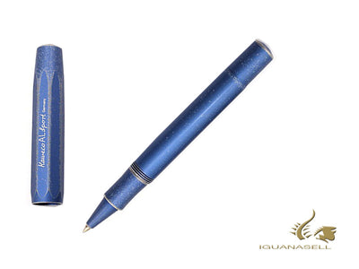 Kaweco AL Sport Stonewashed Rollerball pen, Aluminum, Blue, Mat, Chrome