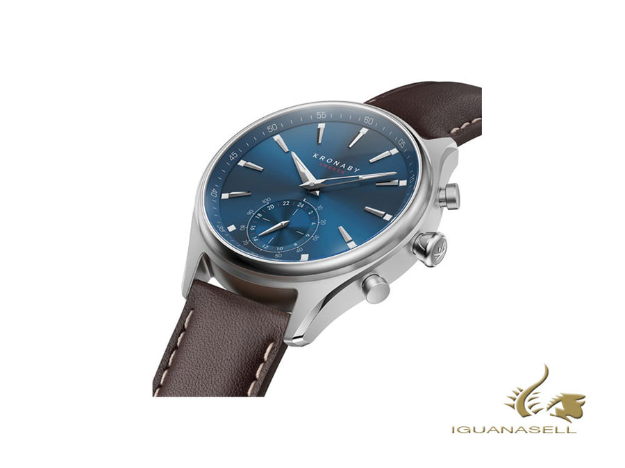 Kronaby Sekel Mezzo Quartz Watch, Blue, 41 mm, 10 atm, Leather Strap, A1000-3120