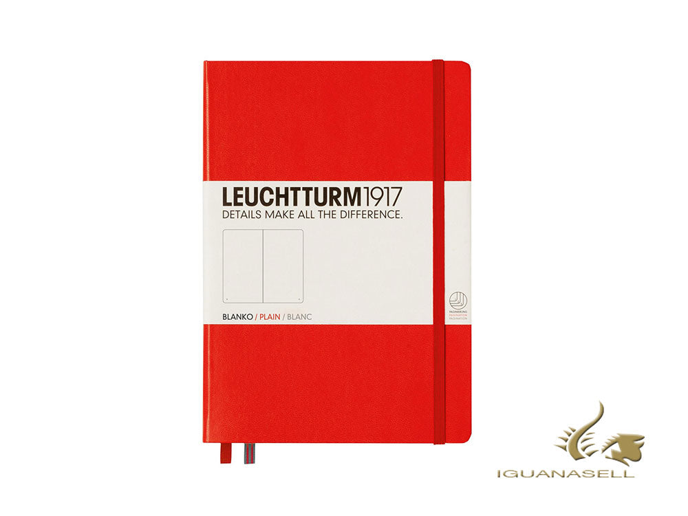 Leuchtturm1917 Hard cover Notebook, Medium (A5), Plain, Red, 249 pages, 309141