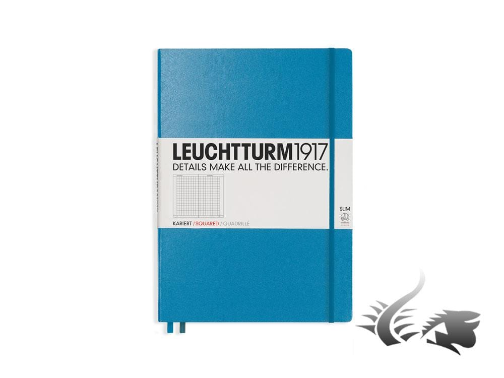Leuchtturm1917 Hardcover Notebook, Master Slim (A4+), Squared, Blue Notebook
