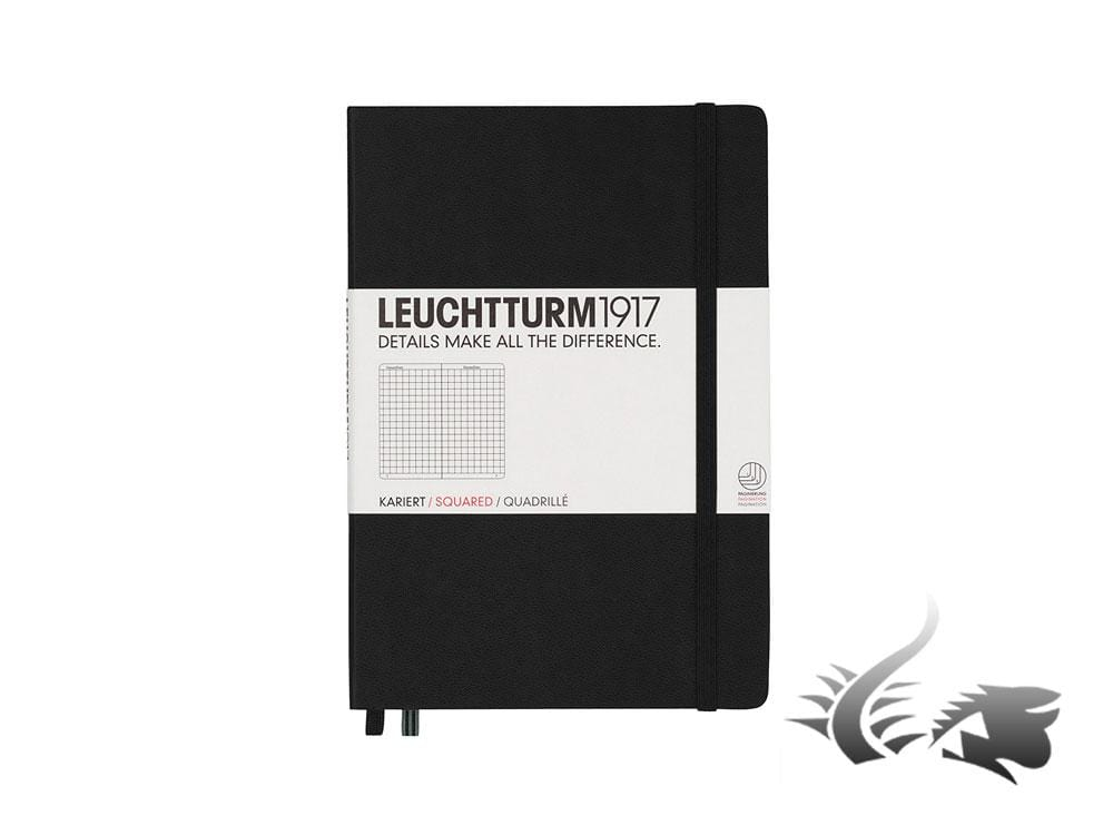 Leuchtturm1917 Hardcover Notebook, Medium (A5), Squared, Black, 249 pages Notebook