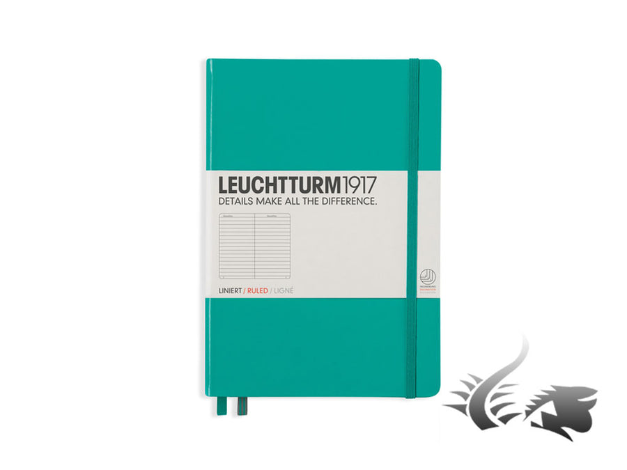 Leuchtturm1917 Hardcover Notebook, Medium (A5), Ruled, Emerald, 249 pages Leuchtturm1917 Notebook