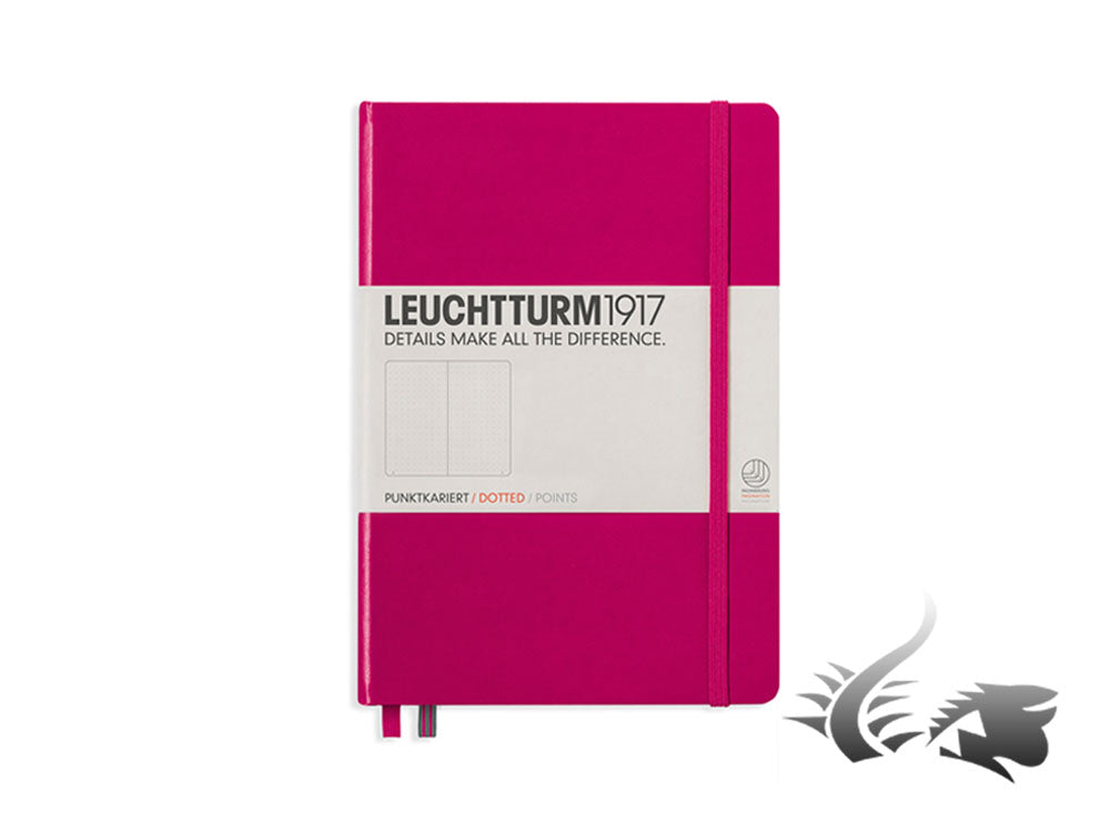 Leuchtturm1917 Hardcover Notebook, Medium (A5), Dotted, Berry, 249 pages
