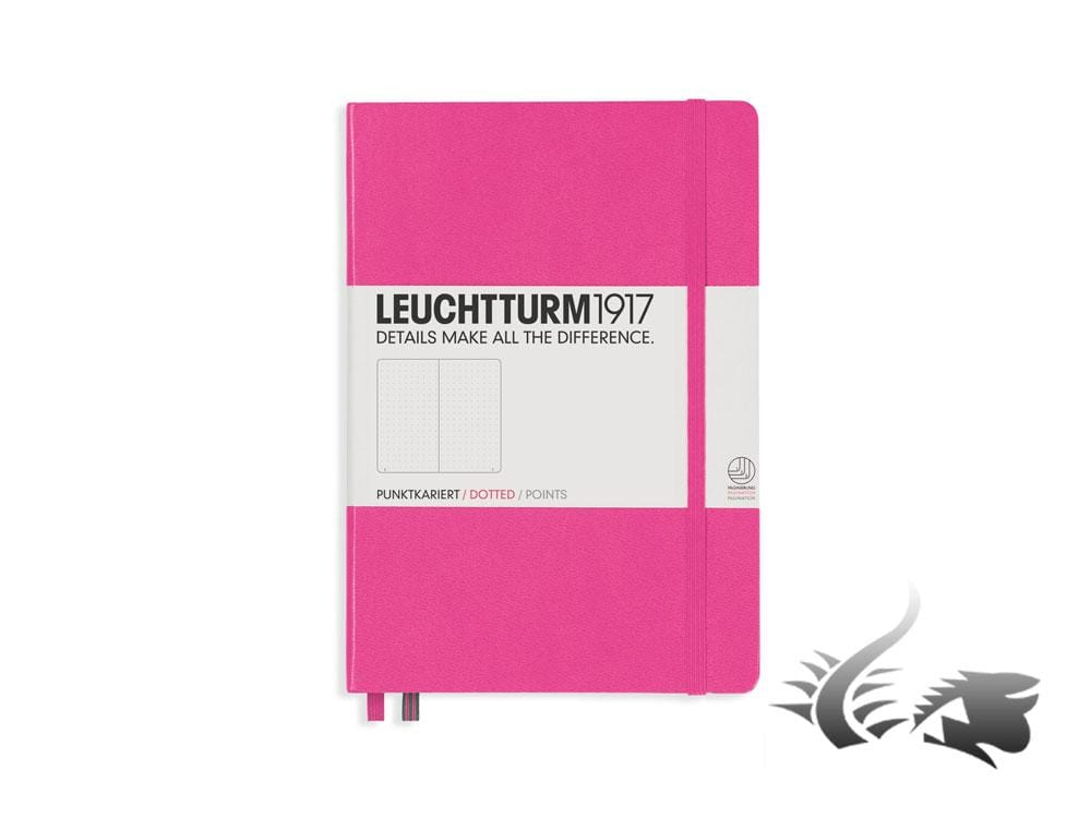 Leuchtturm1917 Hardcover Notebook, Medium (A5), Dotted, Pink, 249 pages, 348111 Notebook