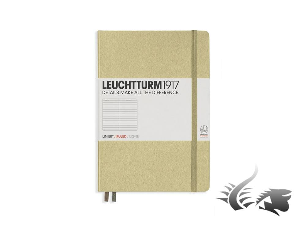 Leuchtturm1917 Hardcover Notebook, Medium (A5), Ruled, Sand, 249 pages, 354592 Notebook