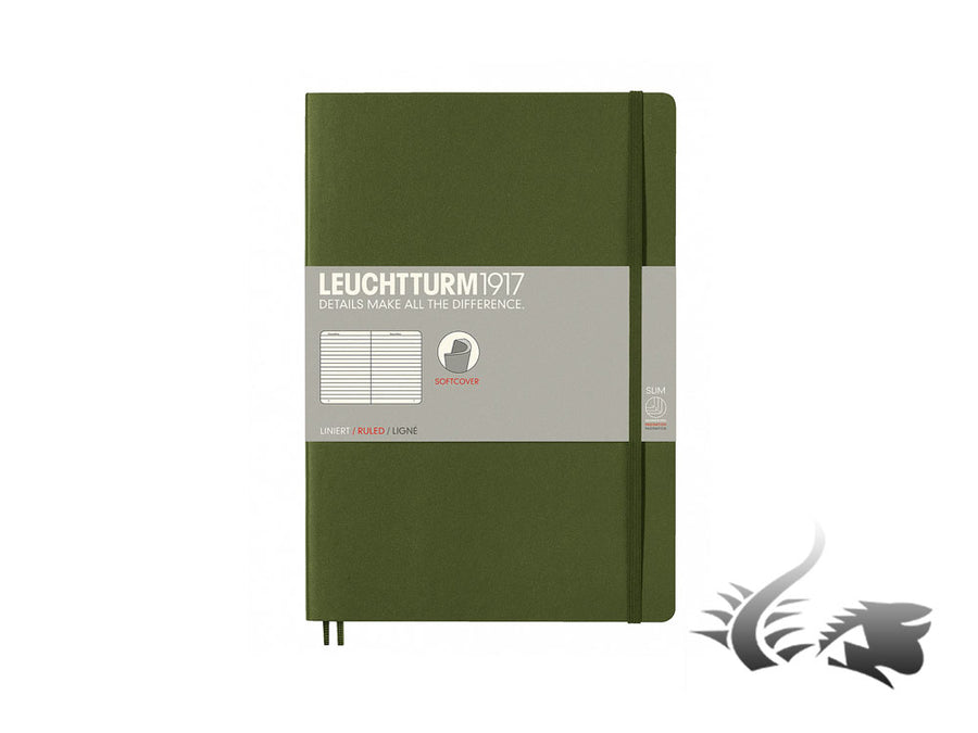 Leuchtturm1917 Softcover Notebook, Composition (B5), 121 pages, Army, Ruled Leuchtturm1917 Notebook