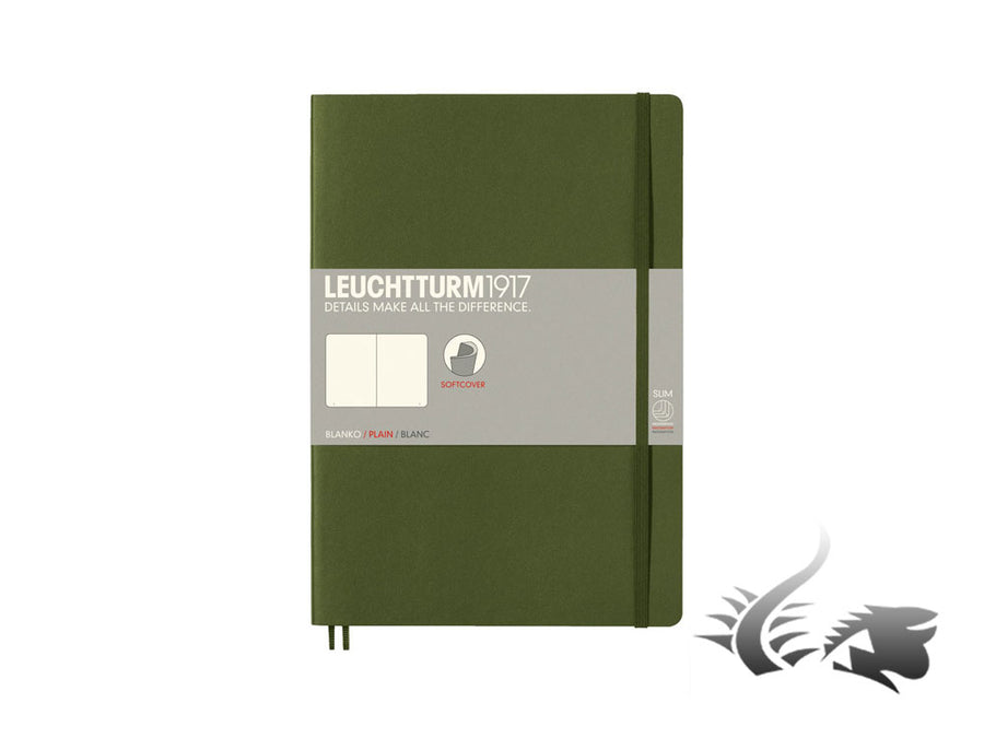 Leuchtturm1917 Softcover Notebook, Composition (B5), 121 pages, Army, Plain Leuchtturm1917 Notebook