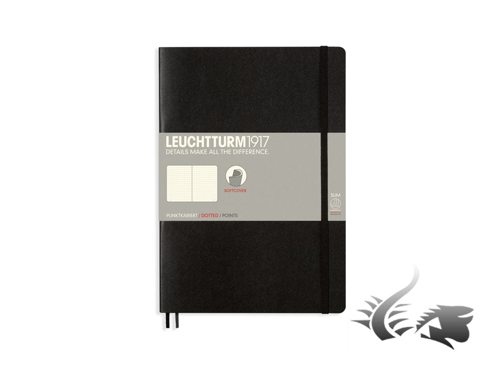 Leuchtturm1917 Softcover Notebook, Composition (B5), 121 pages, Black, Dotted