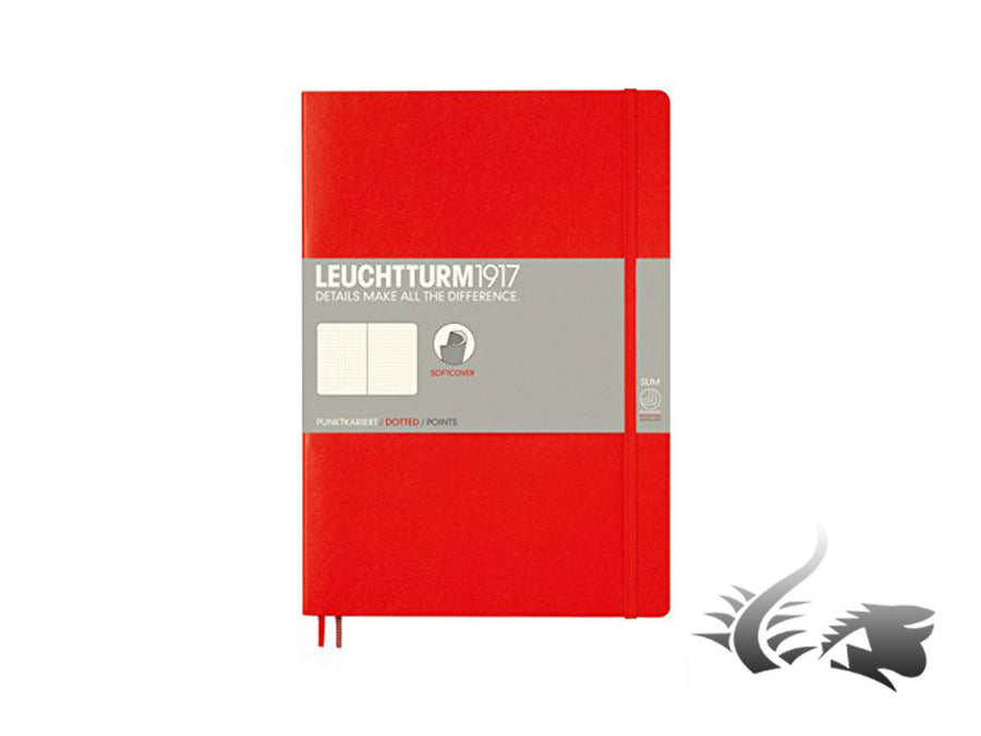 Leuchtturm1917 Softcover Notebook, Composition (B5), Dotted, Red, 121 pages