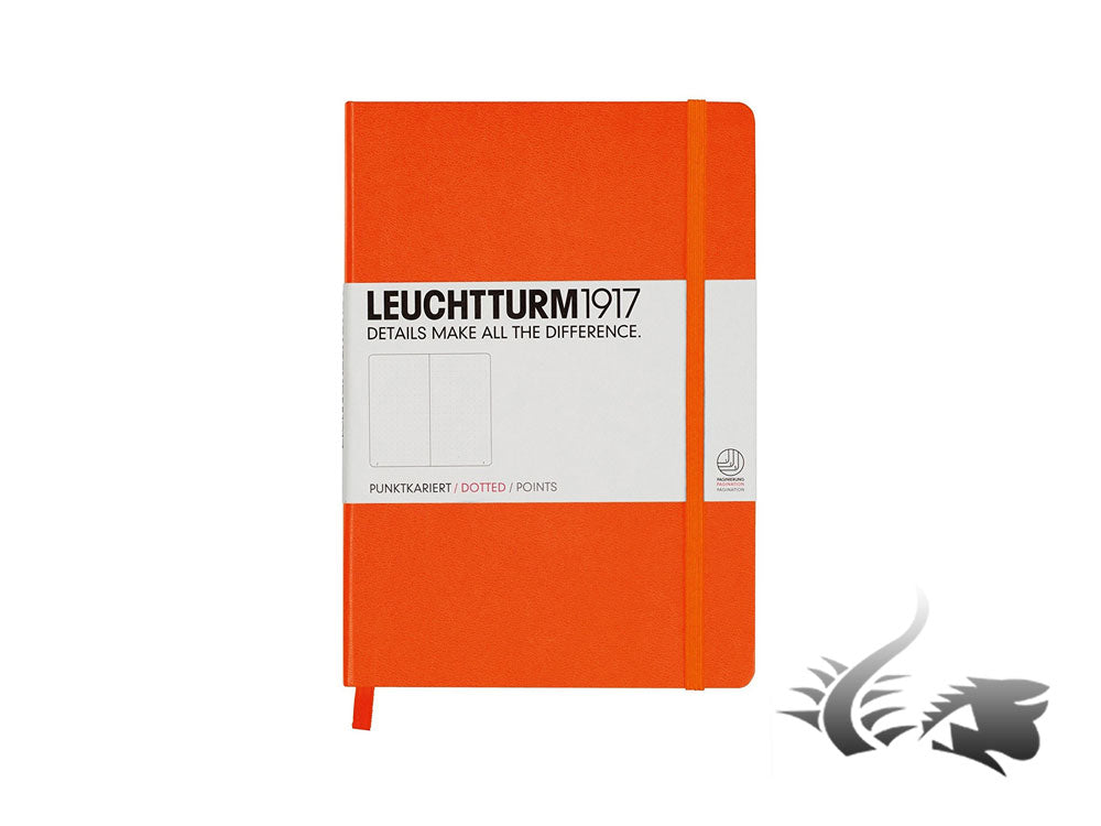 Leuchtturm1917 Hardcover Notebook, Medium (A5), Dotted, Orange, 249 pages