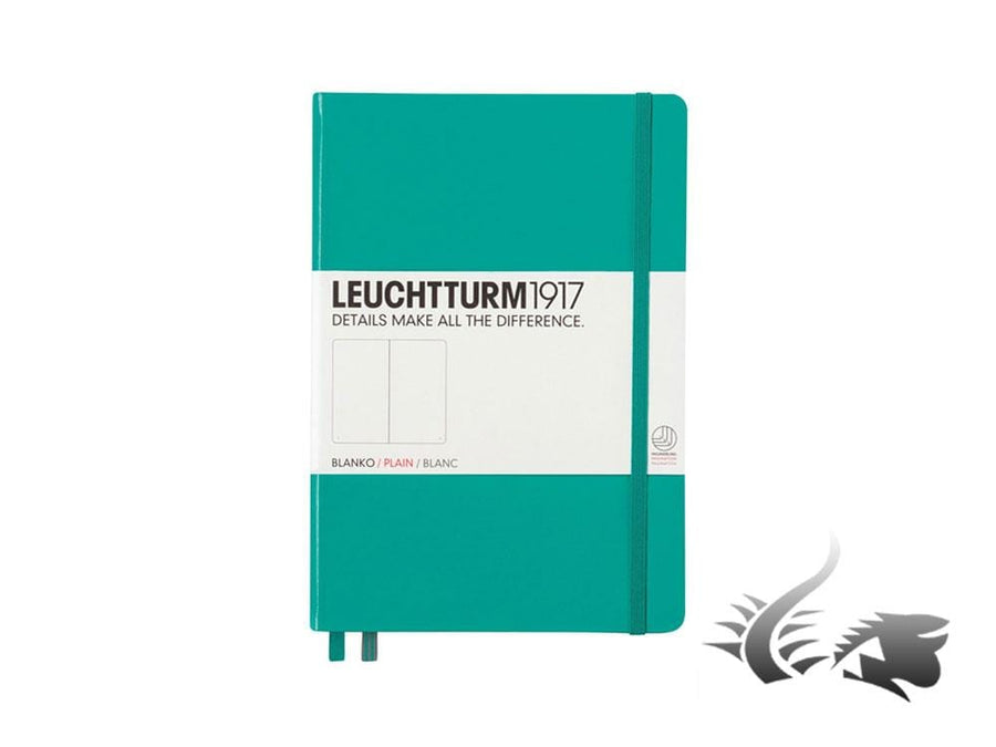 Leuchtturm1917 Hardcover Notebook, Medium (A5), Plain, Emerald, 249 pages Leuchtturm1917 Notebook