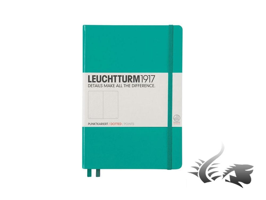 Leuchtturm1917 Hardcover Notebook, Medium (A5), Dotted, Emerald, 249 pages Leuchtturm1917 Notebook