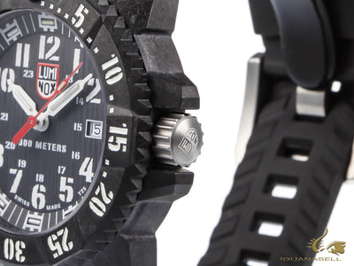 Luminox Carbon Seal Quartz watch, Carbon, 46mm, Rubber strap, Black, XS.3801