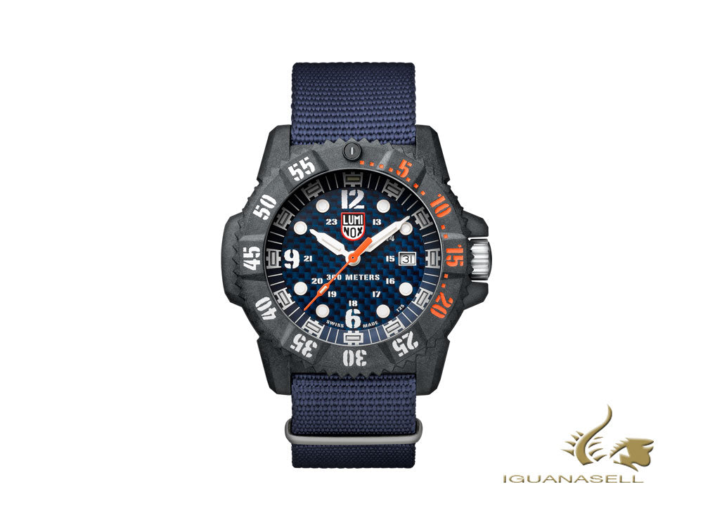 Luminox Master Carbon Seal Quartz Watch, Carbon, 30 atm, Blue, XS.3803.C