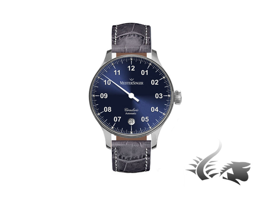 Meistersinger Circularis Automatic Watch, MSA01, Sunburst Blue, 43mm, Grey strap Meistersinger Automatic Watch