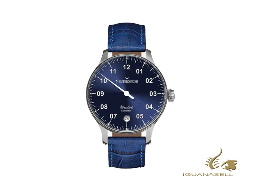 Meistersinger Circularis Automatic Watch, MSA01, Sunburst Blue, 43mm, Blue strap