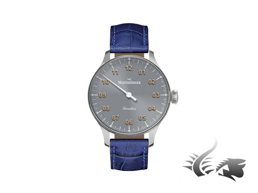 Meistersinger Circularis Watch, Manual winding, MSH01, 43mm, Grey, Leather