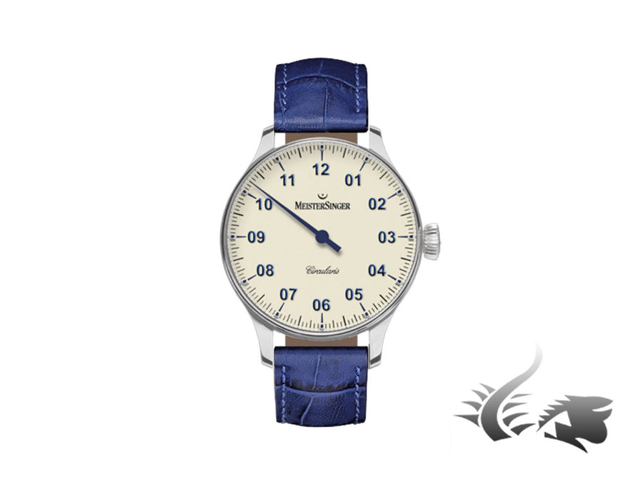 Meistersinger Circularis Watch, Manual winding, Ivory, MSH01, 43mm, Leather