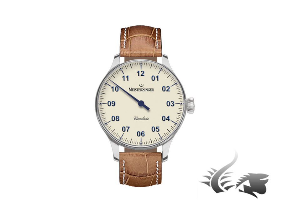 Meistersinger Circularis Watch, Manual winding, MSH01, 43mm, Ivory, CC303-SG03W