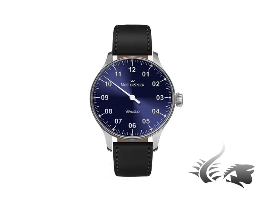 Meistersinger Circularis Watch, Manual winding, Sunburst Blue, Leather strap Meistersinger Automatic Watch