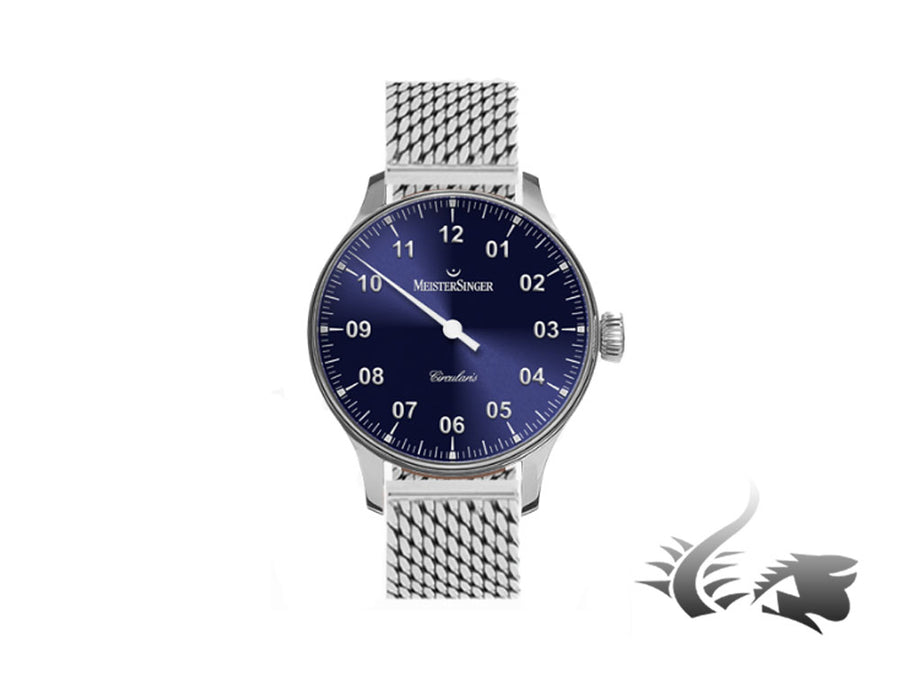 Meistersinger Circularis Watch, Manual winding, Sunburst Blue, Mesh strap Meistersinger Automatic Watch